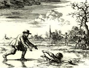 Anabaptisten Dirk Willems räddar livet på sin förföljare, en symbol för anabaptismen