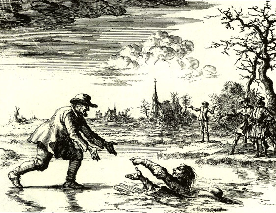 Dirk Willems räddar en man som försökte döda honom, en ikon för anabaptismen