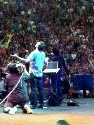 Frank and Simon Adahl on stage at World Prayer Assembly 2012