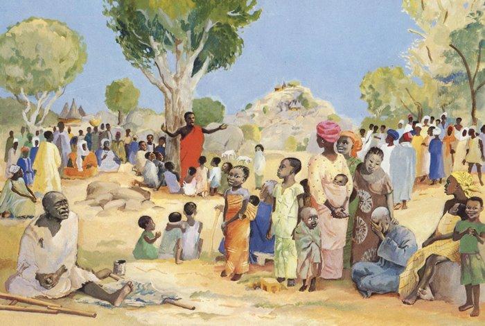 Slättpredikan enligt en afrikansk konstnär