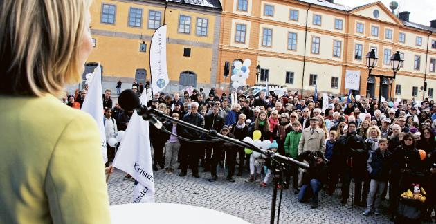 Ebba Busch Thor på torgmöte för KD. Foto: Världen idag